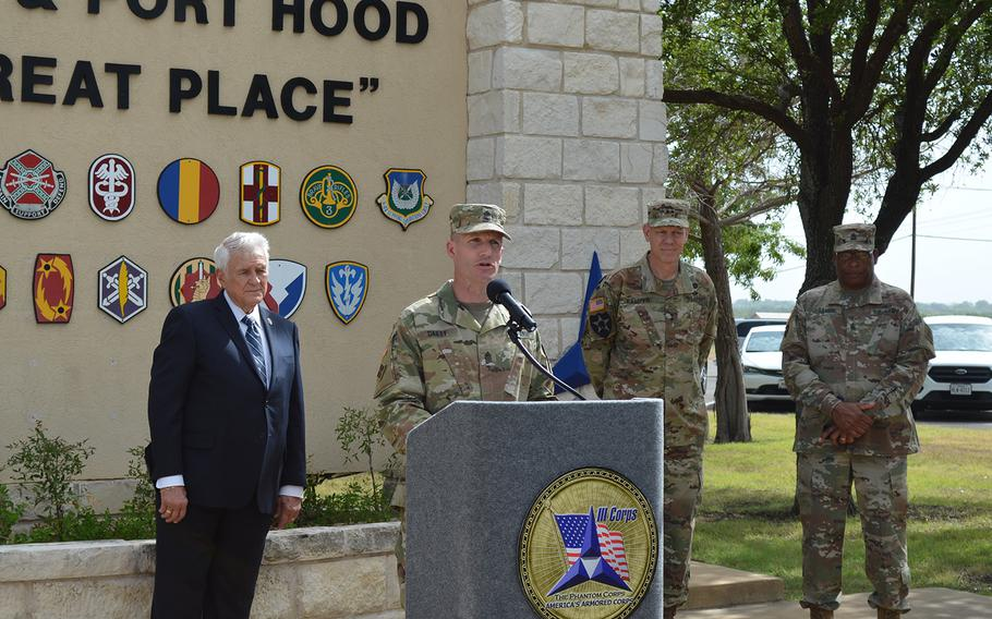Sgt. Maj. Daniel Dailey, the Army's top enlisted soldier, speaks at a press conference about the service's new credential assistance education pilot program outside the Fort Hood main gate on Tuesday.