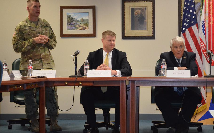 Sgt. Maj. Daniel Dailey, the Army's top enlisted soldier, speaks about the Army's new credential assistance education pilot program at Fort Hood's Education Services Center on Tuesday. Seated to his left are Undersecretary of the Army Ryan McCarthy and U.S. Rep. John Carter, R-Round Rock.