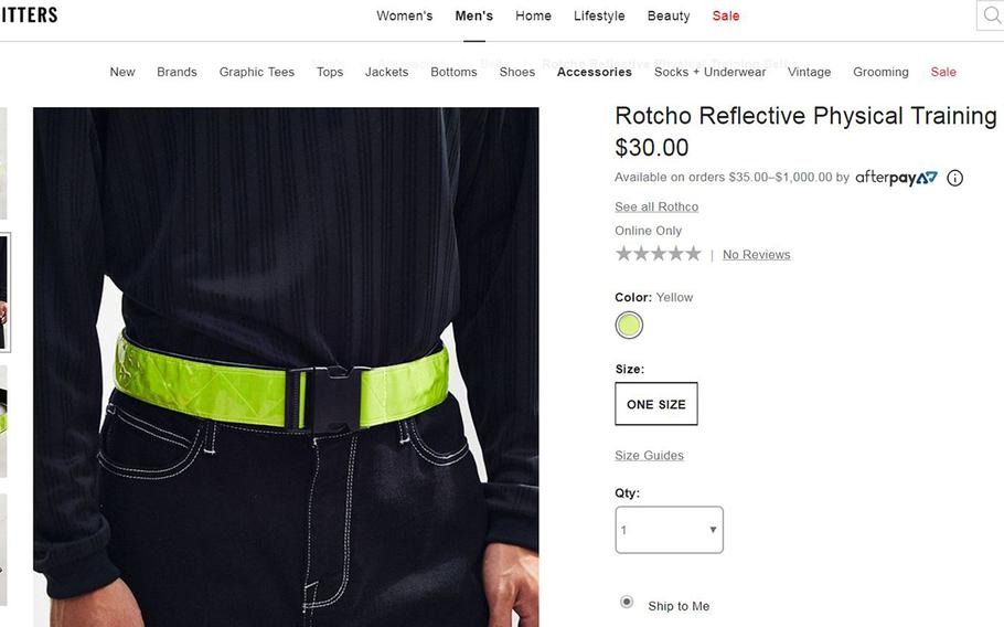 A screenshot shows a yellow reflective belt for sale on the Urban Outfitters online store on Wednesday, Aug. 15, 2018. The reflective belt is widely mocked in the military.
