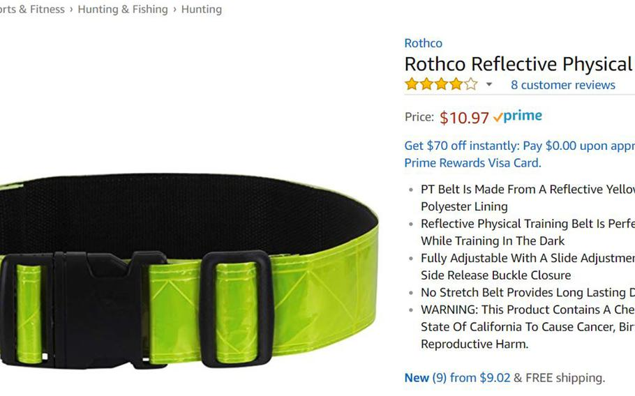A screenshot shows a yellow reflective belt for sale on Amazon.com on Wednesday, Aug. 15, 2018. A similar belt was being sold for three times the price on the online store for Urban Outfitters.