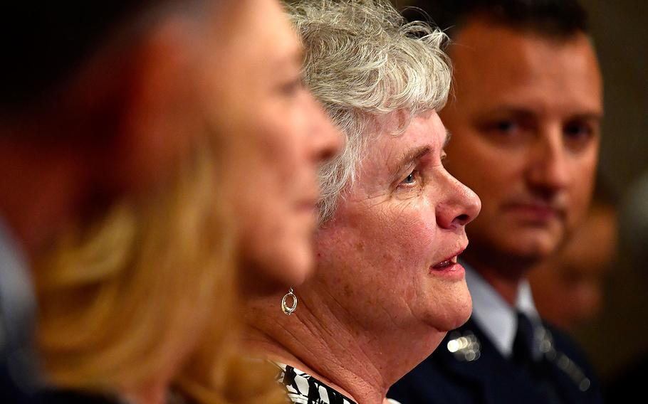 Terry Chapman, mother of U.S. Air Force Tech. Sgt. John Chapman, answers questions during media interviews at the Double Tree Pentagon City Hotel in Arlington, Va. on Aug. 21, 2018.