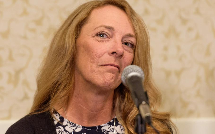 Valerie Nessel, the widow of Air Force Tech. Sgt. John Roberts, speaks Aug. 21, 2018 in Arlington, Va., about her husband's forthcoming posthumous Medal of Honor.