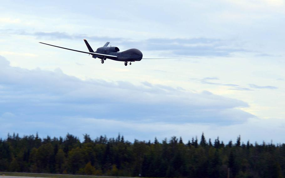 An RQ-4 Global Hawk assigned to the 12th Reconnaissance Squadron lands during Red Flag Alaska at Eielson Air Force Base, Aug. 16, 2018.