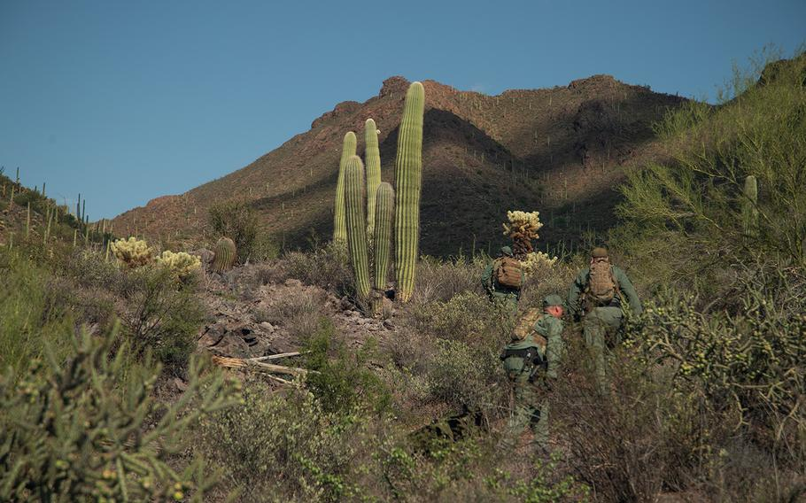 National Guard UH-60 Black Hawk helicopter crews participating in Operation Guardian Support provided rapid support to Tucson Sector's Mobile Response Team Aug. 13, 2018,, resulting in the apprehension of two people who crossed over the border illegally in the desert near Sasabe.    The Blackhawk crew inserted Border Patrol agents and a canine into a remote area where they quickly apprehend two Guatemalan nationals attempting to evade apprehension.