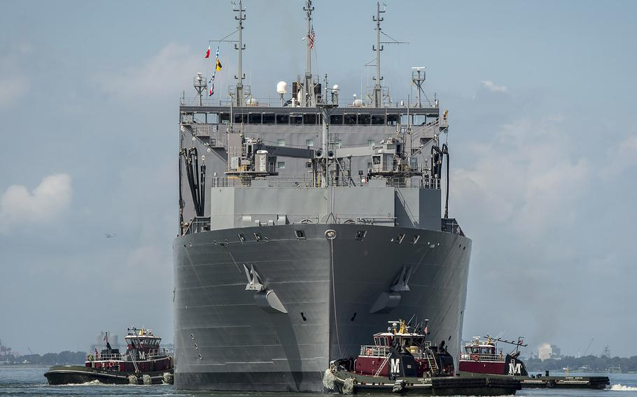 The Military Sealift Command dry cargo and ammunition ship USNS Lewis and Clark departs Naval Station Norfolk in preparation for Hurricane Florence, Sept. 10, 2018.