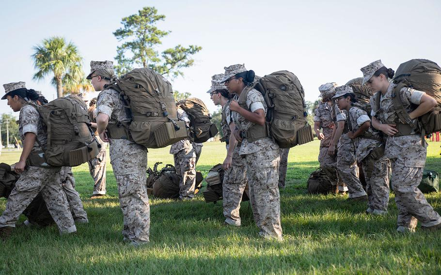Recruits at Marine Corps Recruit Depot Parris Island prepare to evacuate to Marine Corps Logistic Base Albany following an evacuation order on Sept. 11, 2018.