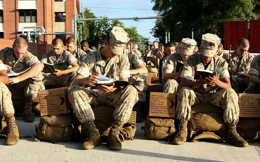 Recruits at Marine Corps Recruit Depot Parris Island prepare to evacuate to Marine Corps Logistic Base Albany following an evacuation order.