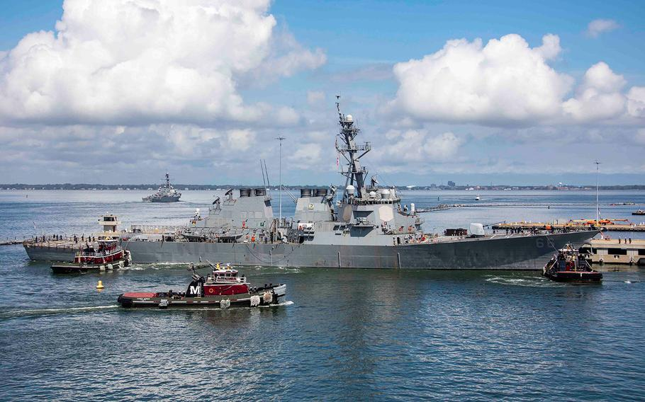 The Arleigh Burke-class guided-missile destroyer USS Gonzalez (DDG 66) departs Naval Station Norfolk on Sept. 10, 2018.