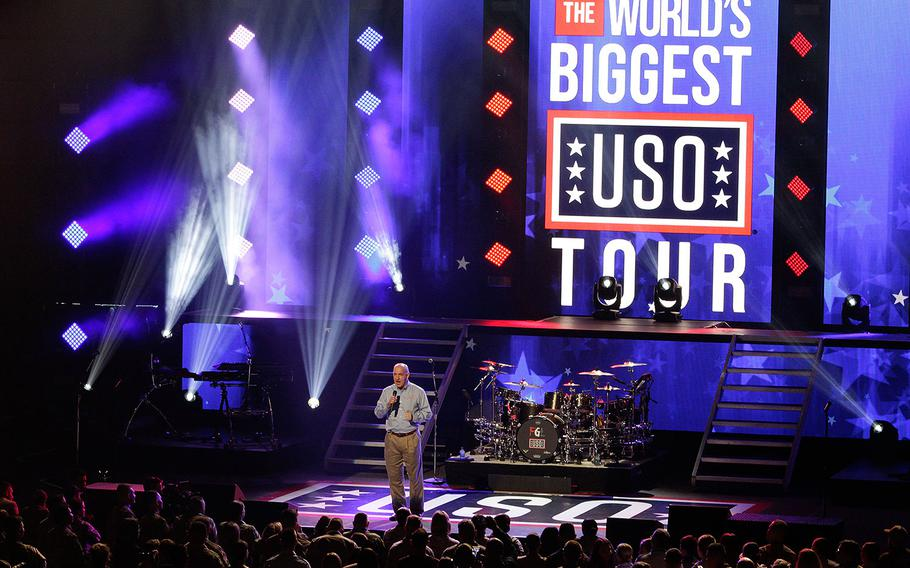 """USO President J.D. Crouch addresses the crowd at """"The World's Biggest USO Tour"""" at The Anthem theater in Washington on Wednesday, Sept. 12, 2018."""