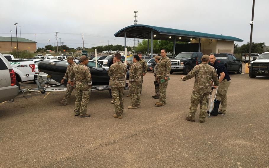 U.S. Border Patrol agents from the Laredo Sector Mobile Response Team prepare to leave for North Carolina, ahead of Hurricane Florence, to help with law enforcement and urban search and rescue efforts.