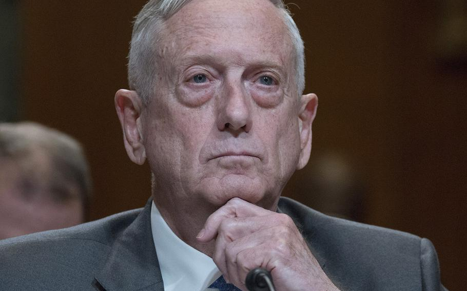 Defense Secretary Jim Mattis listens during a Senate Appropriations subcommittee hearing on the DOD budget, May 9, 2018 on Capitol Hill.