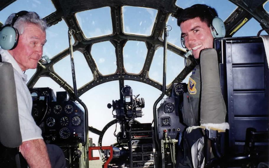 In an October, 1998 file photo, retired Brig. Gen. Paul Tibbets Jr., left, and his grandson, then-Capt. Paul Tibbets IV, fly the last flyable B-29 Superfortress, 'Fifi,' in Midland, Texas.