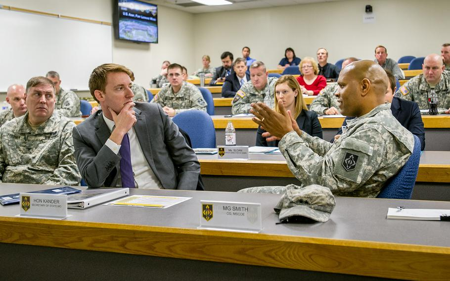 Jason Kander, pictured here during a 2013 visit to Fort Leonard Wood, withdrew Tuesday, Oct. 2, 2018, from the Kansas City, Mo., mayoral race in order to seek help for depression and symptoms of post-traumatic stress disorder.