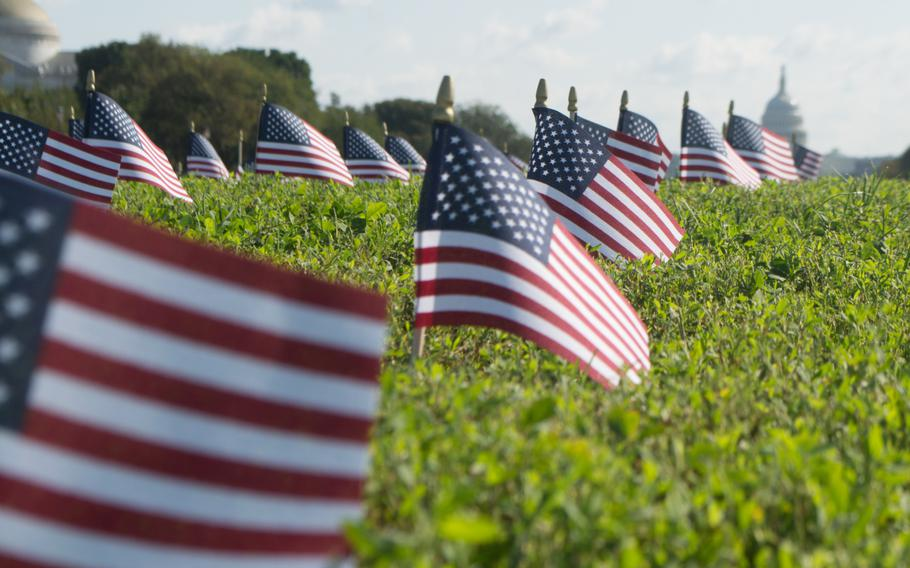 Thousands of American flags filled a grassy expanse on the National Mall on Wednesday morning, each of them representing a veteran or a servicemember who died by suicide in 2018. The 5,520 flags were placed on the Mall by Iraq and Afghanistan Veterans for America, an advocacy group trying to draw awareness to the issue of veteran suicide.