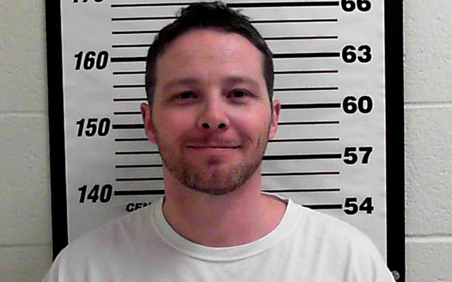 This undated photo released by Davis County Sheriff's Office shows William Clyde Allen III. Allen, 39, a U.S. Navy veteran in Utah was arrested Wednesday, Oct. 3, 2018, in connection with suspicious envelopes that were sent to President Donald Trump and top military chiefs.