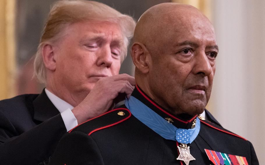 Retired Marine Corps Sgt. Maj. John L. Canley was awarded the Medal of Honor for his actions in the brutal Battle of Hue during the Vietnam War. President Donald Trump presented the medal on Wednesday, Oct. 17, 2018, the 300th in the Marine Corps' history.