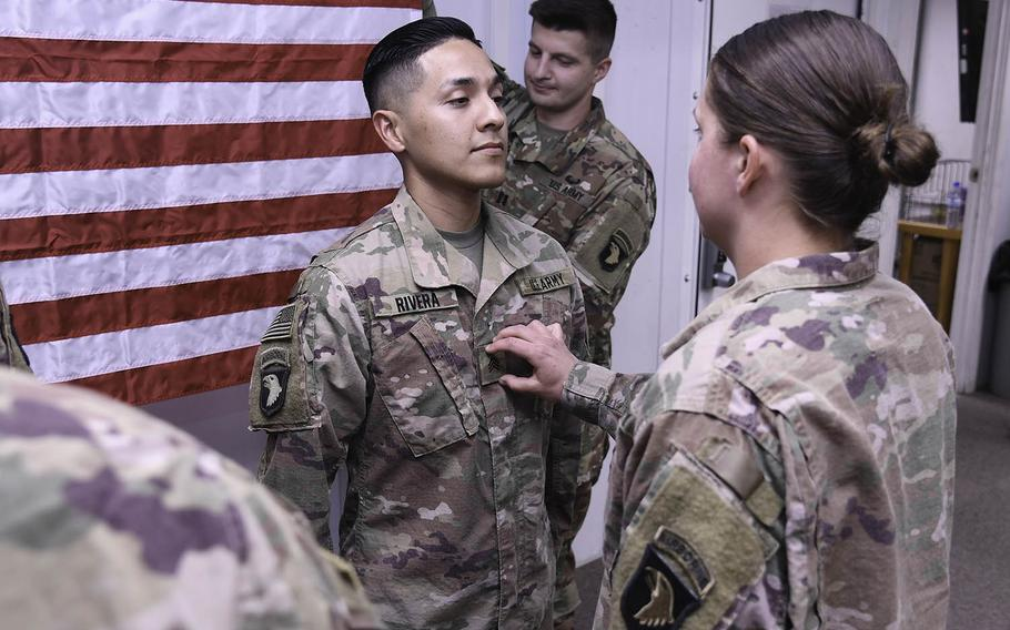 A U.S. Army soldier is promoted to the rank of sergeant at Bagram Airfield, Afghanistan, Oct. 5, 2018.