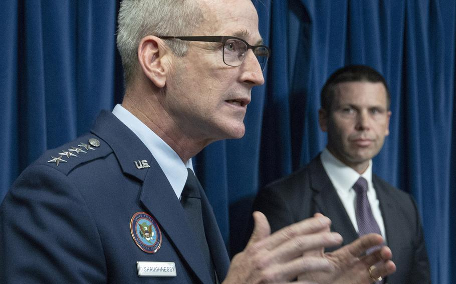 Gen. Terrence O'Shaughnessy, commander of the U.S. Northern Command, speaks at a border security press conference in Washington, D.C., Oct. 29, 2018. Behind him is U.S. Customs and Border Protection Commissioner Kevin McAleenan.