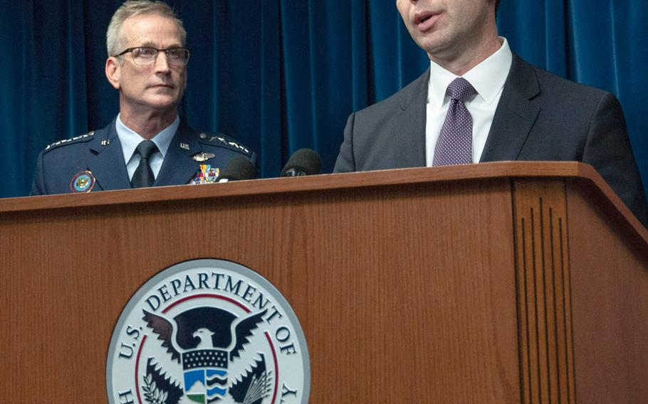 U.S. Customs and Border Protection Commissioner Kevin McAleenan speaks at a border security press conference in Washington, D.C., Oct. 29, 2018. Behind him is Gen. Terrence O'Shaughnessy, commander of the U.S. Northern Command.