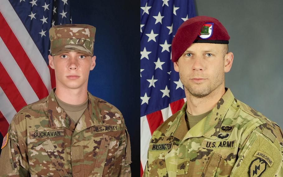 Spc. Mason James Guckavan (right), 21, was an infantryman with the 1st Stryker Brigade Combat Team, 25th Infantry Division, the Army said. Sgt. Andrew James Washington (left), 28, was an electronic warfare specialist with the 4th Infantry Brigade Combat Team (Airborne), 25th Infantry Division.