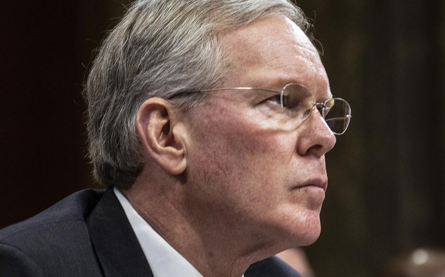 Pentagon Chief Management Officer John H. Gibson II, shown here at a hearing in March, resignedMonday just eight months after taking the job charged with leading efforts to save the department money through business reforms.