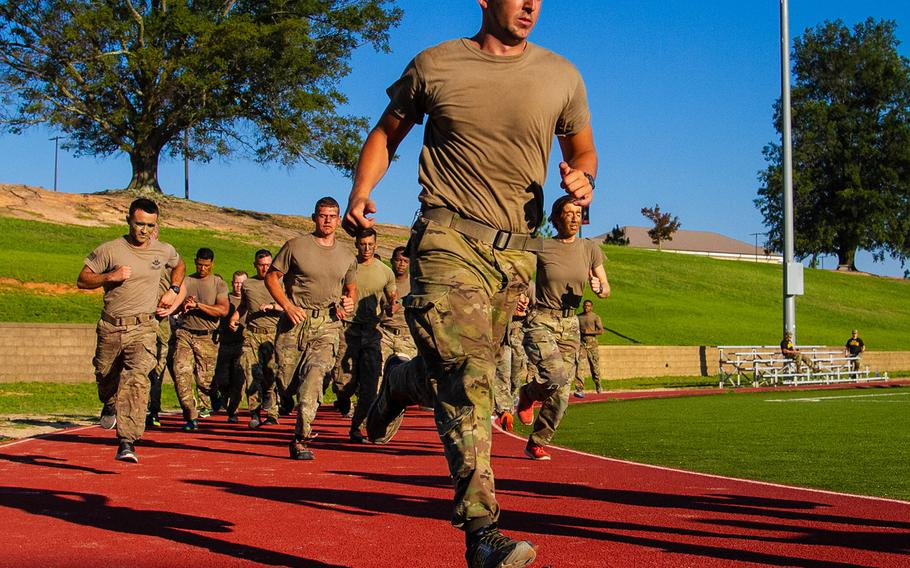Soldiers assigned to 5th Squadron, 73rd Calvary Regiment, 3rd Brigade Combat Team, 82nd Airborne Division begin the 2-mile run portion of the Army Physical Fitness Test event as part of a deployment readiness exercise July 10, 2018 at Fort Bragg, N.C.