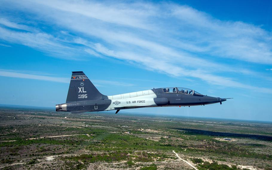 A T-38 Talon flies near Laughlin Air Force Base, Texas, May 18, 2018.  The T-38 is one of three aircraft flown during Undergraduate Pilot Training.