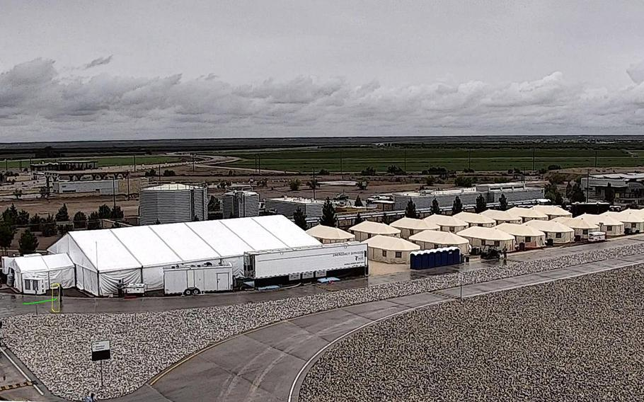 The shelter used to house unaccompanied migrant children in Tornillo, Texas, is seen in an undated photo.