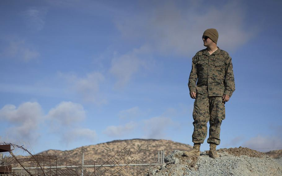 A U.S. Marine with 7th Engineer Support Battalion, Special Purpose Marine Air-Ground Task Force 7, stands at the California-Mexico border near the Tecate region on Nov. 23, 2018.