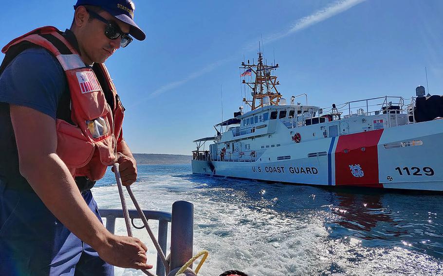 A Coast Guardsman works during a patrol off the coast of Southern California, Nov. 27, 2018.