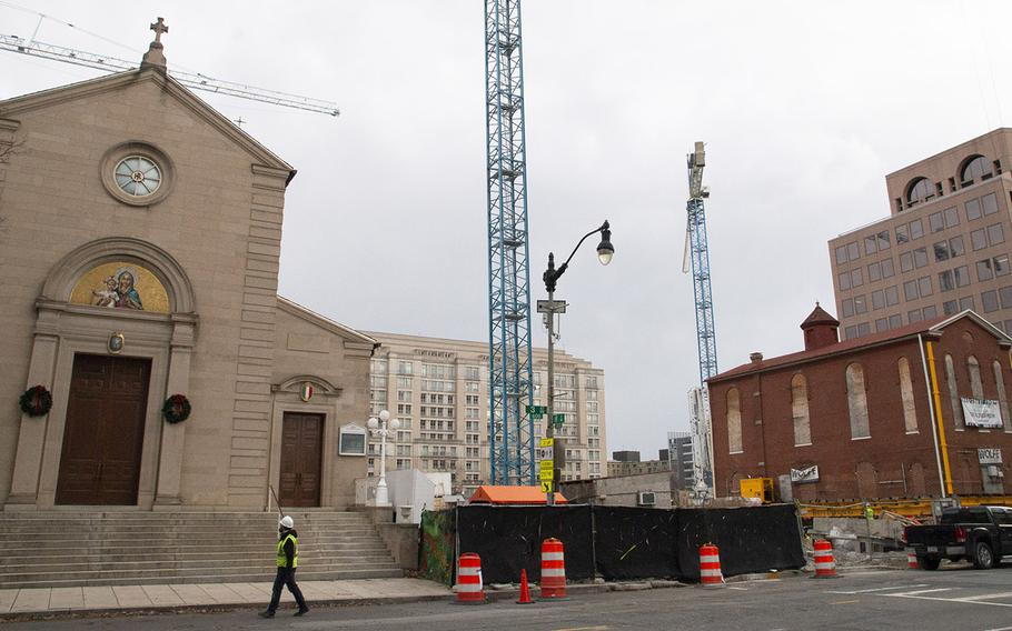 The building awaits unloading at its new location, next to Holy Rosary Church, on January 9, 2019.
