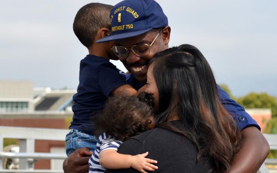The crew of Coast Guard Cutter Bertholf was greeted by family and friends following the cutter's return home to Alameda, Calif., after a 90-day deployment, Sept. 4, 2018.