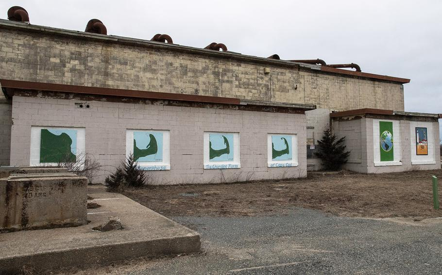 Murals on buildings at the former North Truro Air Force Station on Cape Cod, in January, 2019.