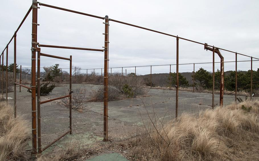 Abandoned basketball courts at the former North Truro Air Force Station on Cape Cod, in January, 2019.