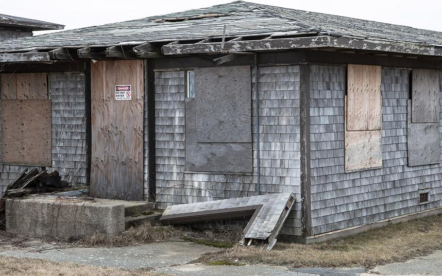 The former theater at the abandoned North Truro Air Force Station on Cape Cod, in January, 2019.