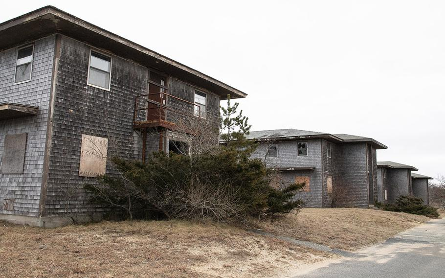 Abandoned enlisted barracks at the former North Truro Air Force Station on Cape Cod, in January, 2019.