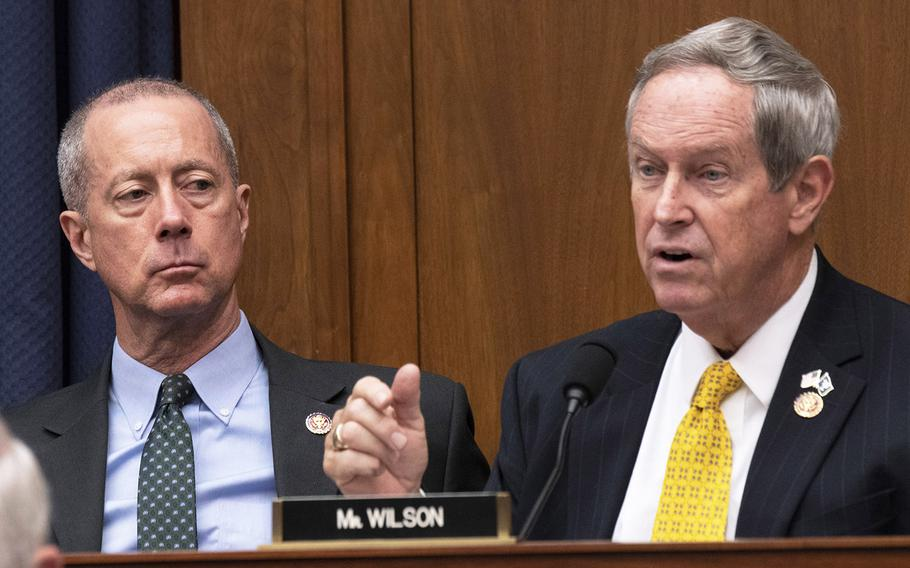 Rep. Joe Wilson, R-S.C., questions the witnesses during a House Armed Services Committee hearing on DOD support to the southern border, Jan. 29, 2019 on Capitol Hill. Listening is Ranking Member Mac Thornberry, R-Texas.