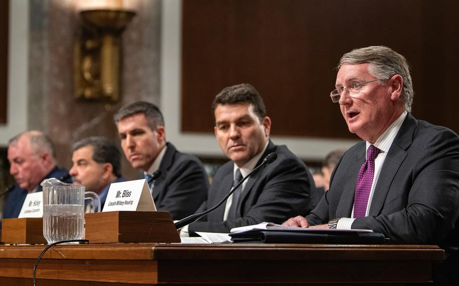 """Jarl Bliss, president of Lincoln Military Housing, testifies at a Senate hearing on Capitol Hill in Washington on Feb. 13, 2019. Bliss said his organization regrets """"when even one servicemember family feels we have come up short,"""" in providing quality housing. Joning Bliss were other housing executives who expressed similar sentiments. They were next to Bliss from right to left: Denis Hickey with Americas Lendlease Corporation; John Ehle with Hunt Military Communities; John Picerne with Corvias Group; and Christopher Williams with Balfour Beatty Communities."""