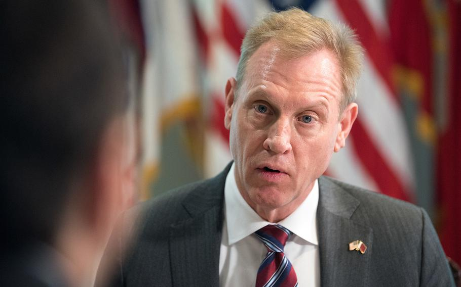 Acting U.S. Secretary of Defense Patrick M. Shanahan meets with the Qatar Minister of State for Defence Affairs Khalid bin Mohammad Al Attiyah at the Pentagon in Washington, D.C., March 12, 2019.