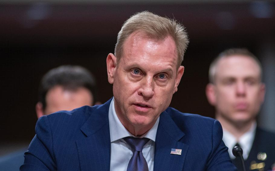 """Acting Secretary of Defense Patrick Shanahan testifies during a Senate Armed Services Committee hearing on Capitol Hill in Washington on Thursday, March 14, 2019. Shanahan told lawmakers the United States will not charge allies the """"cost plus 50 percent"""" to base U.S. troops in their countries."""