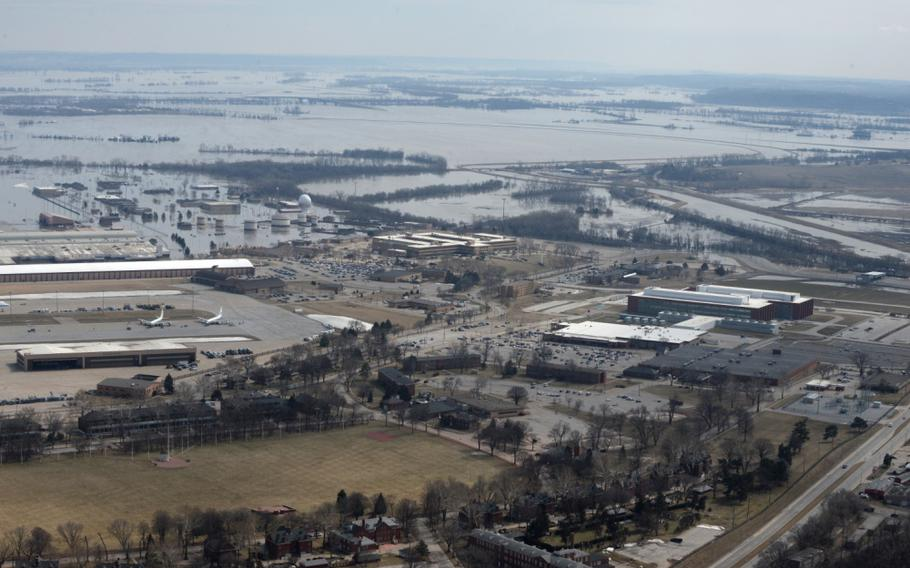 This aerial view shows Offutt Air Force Base and the surrounding areas affected by flood waters on March 16, 2019.