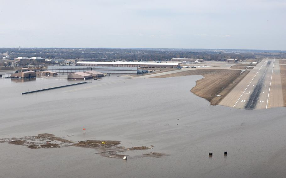 An aerial view of Offutt Air Force Base and the surrounding areas affected by flood waters on March 16, 2019. An increase in water levels of surrounding rivers and waterways caused by record-setting snowfall over the winter in addition to a large drop in air pressure resulted in widespread flooding across the state of Nebraska.