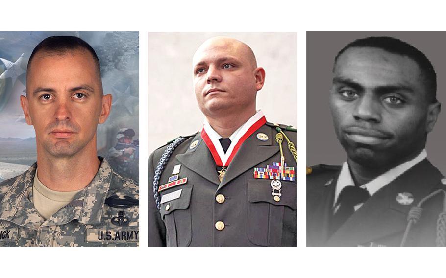 Left to right: Maj. Thomas Bostick, Sgt. Robert K. Debolt and Staff Sgt. Stevon A. Booker. PHOTO CREDITS: Maj. Chris Bradley, U.S. Army (Bostick), 1st Infantry Division Public Affairs (Debolt), Shelia L. Cooper, U.S. Army (Booker).