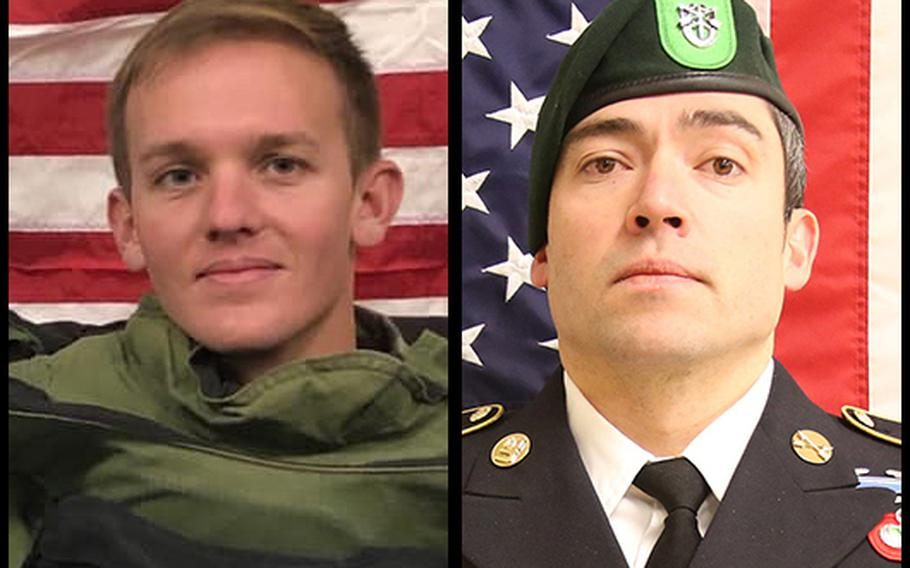 Spc. Joseph P. Collette, left, and Sgt. 1st Class Will D. Lindsay