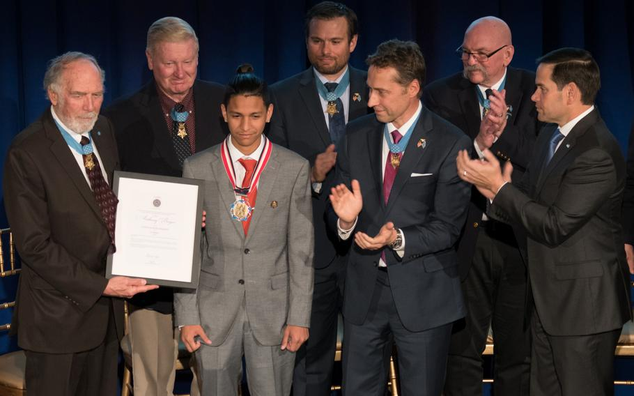Anthony Borges is applauded by Medal of Honor recipients and Sen. Marco Rubio, R-Fla., at the 2019 Citizen Honors Service Act Award ceremony held in Washington on Monday, March 25, 2019. Borges is credited with saving the lives of 20 classmates the 2018 school shooting in Parkland, Fla.