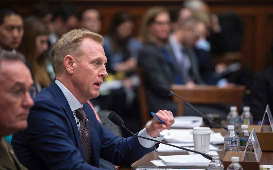 Acting Secretary of Defense Patrick Shanahan testifies before the House Armed Services Committee on on Tuesday, March 26, 2019, during a hearing on Capitol Hill in Washington. Also testifying at left is Chairman of the Joint Chiefs of Staff Gen. Joseph Dunford.