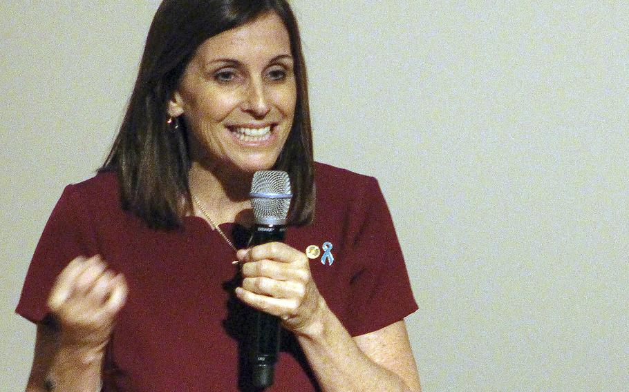 Sen. Martha McSally, R-Ariz., speaks during the Better People, Better Leaders, Better Nation Conference at the U.S. Naval Academy in Annapolis, Md., April 4, 2019.