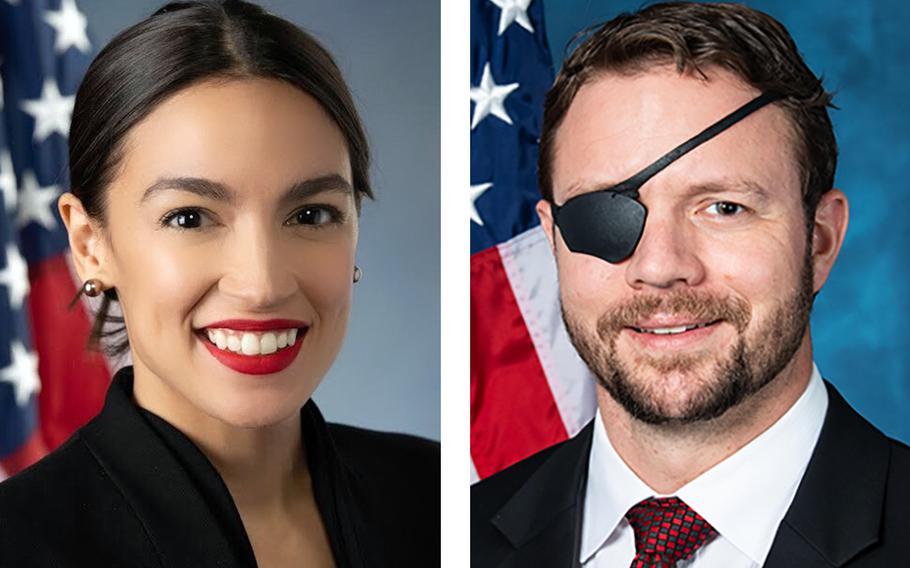 Reps. Alexandria Ocasio-Cortez, D-N.Y., and Dan Crenshaw, R-Texas.