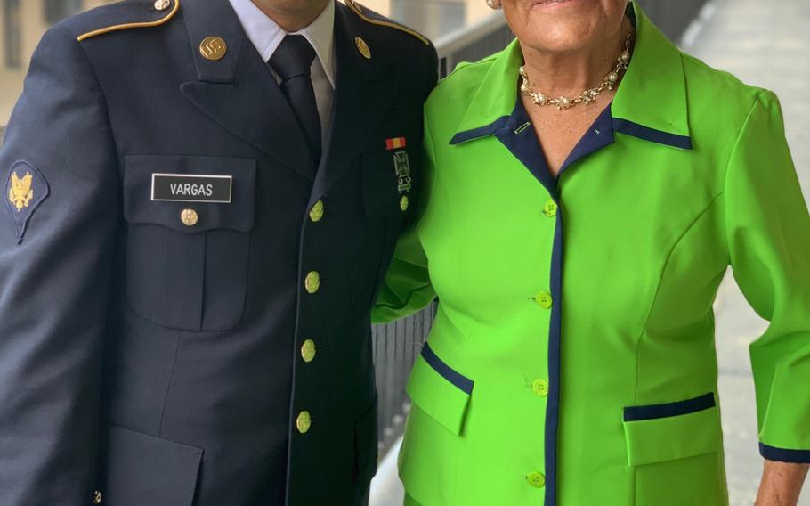 Cesar Vargas and his mother, Teresa Galindo, meet before his graduation from the Army Reserve's Basic Combat Training.
