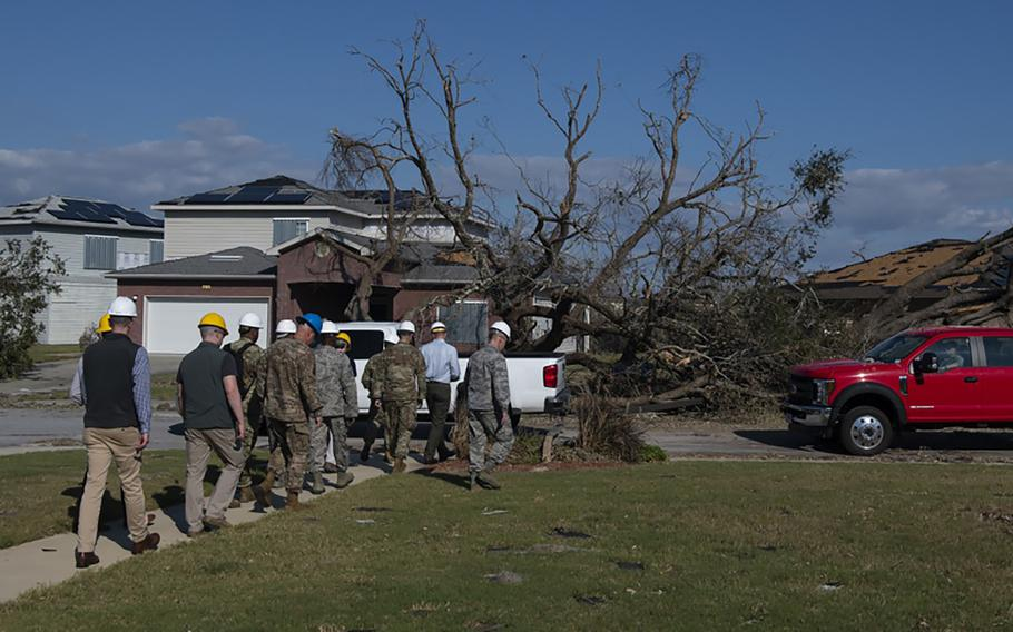 Air Force senior leaders tour base housing at Tyndall Air Force Base, Florida, Oct. 14, 2018. Air Force senior leaders toured Tyndall Air Force Base to assess the damage from Hurricane Michael, one of the most intense tropical cyclones to ever hit the U.S.